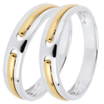 Wedding rings Duo Promise - all gold - yellow and white gold