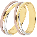 wedding Wedding Rings Duo Saturn Trilogy variation - Three golds - 9 carats