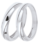 gift woman Wedding Rings Duo Saturn Trilogy -White gold - 18 carats