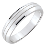 gifts woman Weddingring men Cronos - brushed white gold - 18 carat