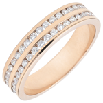 Weddingring rose gold semi paved - rail setting 2 rows - 0.32 carat - 32 diamonds - 18 carat