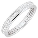 women Weddingring white gold paved - rail setting - 1.02 carat - Princess diamond - Complete Round