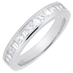 jewelry Weddingring white gold semi paved - rail setting - 0.7 carat