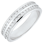 Weddingring white gold semi paved - rail setting 2 rows - 0.32 carat - 32 diamonds