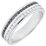 Weddingring white gold semi paved white and black diamonds - rail setting two rows - 0.32 carat - 32 diamonds