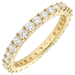 on-line buy Weddingring yellow gold paved - prong setting - 1.11 carat - Complete Round