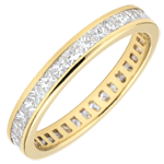 Weddingring yellow gold paved - rail setting - 1.02 carat - Princess diamond - Complete Round
