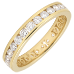 Weddingring yellow gold paved - rail setting - 1.05 carat - Complete Round
