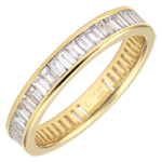 Weddingring yellow gold paved - rail setting - 1.22 carat - baguette diamonds - Complete Round