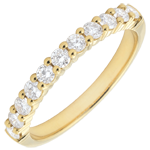 present Weddingring yellow gold semi paved - prong setting - 0.4 carat - 11 diamonds