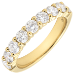 Weddingring yellow gold semi paved - prong setting - 1 carat - 9 diamonds
