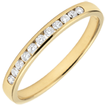on line sell Weddingring yellow gold semi paved - rail setting - 0.15 carat - 11 diamonds