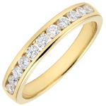 Weddingring yellow gold semi paved - rail setting - 0.4 carat - 11 diamonds