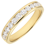 buy Weddingring yellow gold semi paved - rail setting - 0.5 carat - 11 diamonds