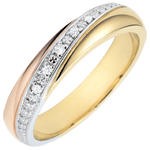 gold jewelry Weddingrings Saturn - Trilogy - three golds and diamonds - 9 carat