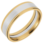 White and Yellow Gold Dandy Ring - 6mm
