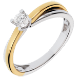 gift women White and Yellow Gold Duetino Solitaire - 0.23 carats