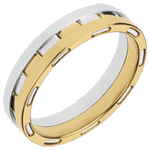 White and Yellow Gold Science Fiction Wedding Ring