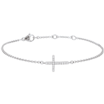 buy on line White Gold and Diamond Cross Bracelet - 9 carats