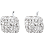 gifts women White Gold and Diamond Cushion Earrings