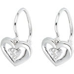 White Gold and Diamond My Love Earrings
