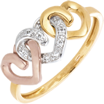 White Gold and Diamond Three Heart Ring