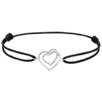 women White Gold-Black-Cord-Entwined-Heart-Bracelet