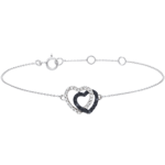 wedding White gold bracelet with White diamonds and black diamonds - Hearts Accomplices - 9 carats