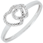 gifts White Gold Diamond Ring - Consensual Hearts - 18 carats