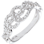 White Gold Diamond Ring with Entwined Arabesques - 18 carats