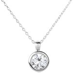 gifts women White Gold Doll Solitaire Necklace - 1 diamond : 1.5 carat