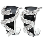 White Gold Earrings - Ribbon Stars - diamonds and black lacquer