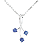 buy White Gold Heart-shaped Sparkles Pendant with Sapphires