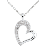 White Gold Heart Twist Pendant