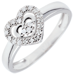 White Gold Paris Heart Ring - 18 carats