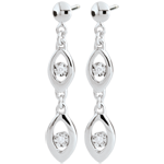 present White Gold Peacock Charm Earrings
