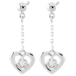 gift woman White Gold Pendulum Heart Earrings