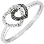 White Gold Ring with white diamonds and black diamonds - Consensual Hearts