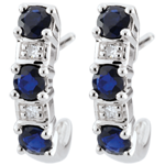 gift women White Gold Sapphire Clarisse Creole Earrings