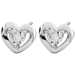 sell on line White Gold Small Heart Earrings