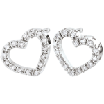 White Gold Zadig Heart Earrings