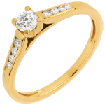 Yellow Gold Altesse Side Stone Ring