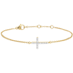 Yellow Gold and Diamond Cross Bracelet - 9 carats