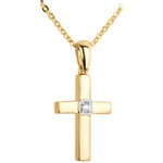 gift Yellow Gold and Diamond Cross Pendant