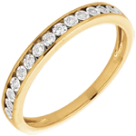 women Yellow Gold and Diamond Magic Stone Half Eternity Ring