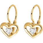 gift women Yellow Gold and Diamond My Love Earrings