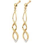 wedding Yellow gold and Diamond Spectacle Earrings