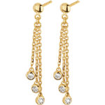 Yellow Gold and Diamond Waterfall Drop Earrings