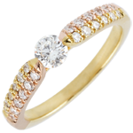 Yellow Gold and Rose Gold Triumphal Solitaire Ring - 0.25 carat
