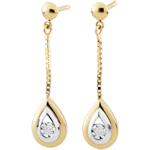 wedding Yellow Gold and White Gold Antelope Tear-drop Pendant Earrings